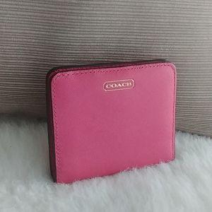 Coach Hot Pink Crossgrain snap small wallet